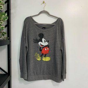 Torrid Disney Mickey Mouse Grey Terry Sweatshirt